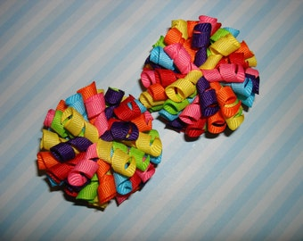 Birthday Blast Rainbow Mix Colors Mini Korker Hair Bows Clips Clippies Set for Pigtails