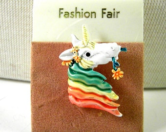 Rainbow Colored Enamel Unicorn Vintage Pin