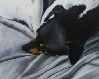 """Jack Russell Terrier, Rat Terrier Sleeping, Large 36"""" x 48"""" Original Oil Painting by Clair Hartmann"""