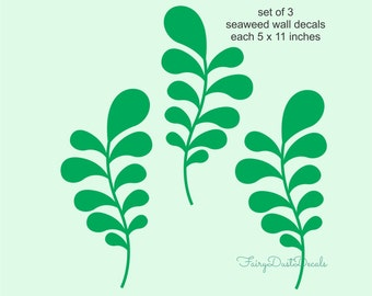 Seaweed Wall Decals - set of 3 - under the sea ocean seaweed plants - fish wall decals - seaweed wall stickers - ocean wall decals - seaweed