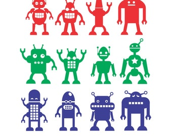Robots Wall Decal set of 12 funky robots - boys room wall decals - space robot wall stickers - 12 alien android funky robots wall decals