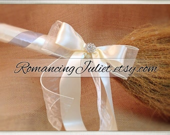 Classic Jump Broom Made in Your Custom Colors with Rhinestone Accent ..shown in silver gray/ivory