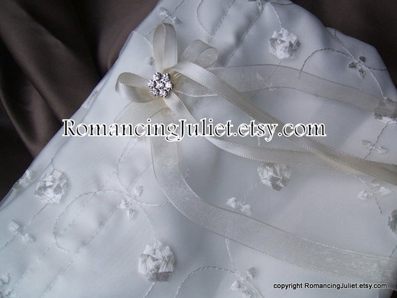 Delicate Satin and Organza Embroidered Bridal Purse..Available in White or Ivory with your Choice Accent Bow