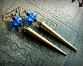 Brass Spike Earrings.  Peacock Blue Earrings with Brass Spike.  Urban Gypsy