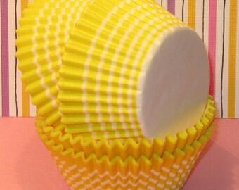 Brite Yellow Stripe Cupcake Liners (45)  Yellow Stripe Cupcake Liners, Yellow Stripe Baking Cups, Yellow Cupcake Liners, Yellow Baking Cups