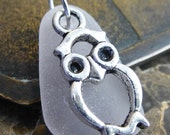 Sea Glass Jewelry Who gives a hoot Sea Glass Necklace