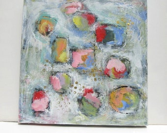 """Acrylic abstract painting on canvas, 18"""" x 18"""", pastel art, Expressionist wall hanging, Modern home decor, gift idea"""