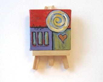 Red abstract Acrylic Heart Painting, Original on canvas, mini canvas with easel, Gift idea