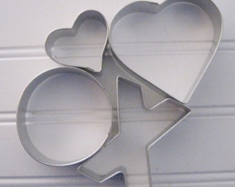 X & O Hugs and Kisses 4 piece  Cookie Cutter Set