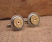 Bullet Casing Jewelry - Gift for Man - Brass Bullet Casing Cuff Links - Great for the Gun Enthusiast or Unique Groomsmen Gifts
