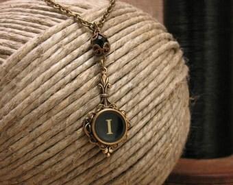Typewriter Key Jewelry - Authentic Single Beaded Black Initial I Typewriter Key Pendant Necklace - Fleur de Lis