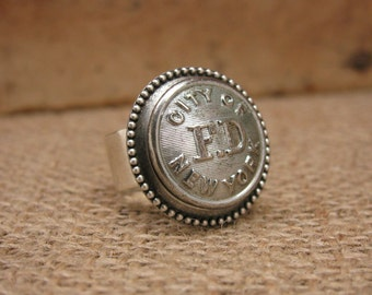 Button Jewelry - New York City - September 11 - Authentic City of New York NYFD Fireman Uniform FD Silver Coat Button Ring - Remembering 911