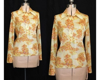 Vintage 70s Monets Sunshiney Garden Polo Blouse
