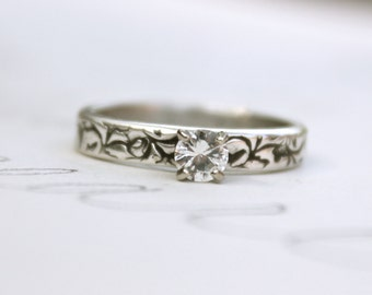 white sapphire engagement ring . unique diamond alternative engagement ring . recycled fine silver band . 10k white gold prong setting