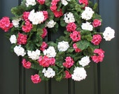 Geranium Arrangements, Summer Geraniums, Summer Wreaths, Wreath, Summer Door Wreaths, Red Geraniums, Pink Geraniums, Summer Wedding Florals