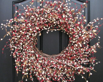 Berry Wreath, Holiday Home Decor, HOLIDAYS, christmas wreaths, holiday wreaths, winter wreaths, burlap bows, burlap wreaths, red white decor