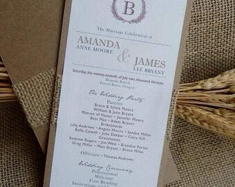 Rustic Fall Wheat Burlap Wedding Program