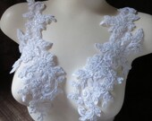 WHITE Beaded Applique Pair for Lyrical Dance, Ballet, Bridal, Sashes, Headpieces, Costumes PR 3white