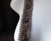 """Beaded Trim 18""""  in Bronze & Gold for Headbands, Tribal Fusion, Bellydance, Costume Design, Home Decor TR 263"""