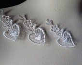 3 Heart Appliques in Ivory Venise Lace for Bridal, Valentine's Day, Lace Jewelry, Garters