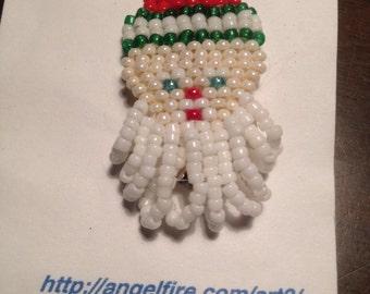 Seed Bead Santa Pin