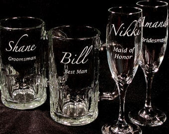 4 Wedding Beer Mugs Champagne Flutes Groomsmen Gifts, Bridesmaid Gifts, Presents for Wedding Party