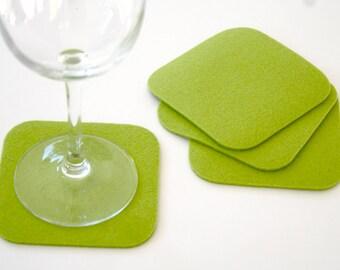 Square Felt Drink Coaster Set 3mm Thick Virgin Merino Wool Felted Fabric Absorbent Coasters Eco friendly Barware Housewarming Hostess Gift