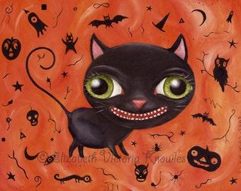 Vintage Halloween Black Cat Art, Pop Surrealism, Big Eye Art Print, Whimsical Painting, Silhouette, Holiday Decor, Surreal, Wibbley World