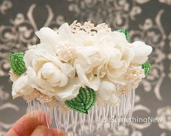 Wedding Hair Comb of Vintage Flowers, Beaded French Leaves, and Lace, Wedding Hair Acessory, Bridal Clip