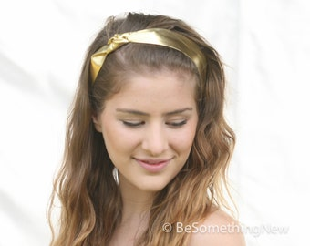 Metallic Gold Headband with Knot, Bohemian Leather Hair Accessory, Boho Headband, Women Hair Accessory, Gold Sash Style Wide Headband