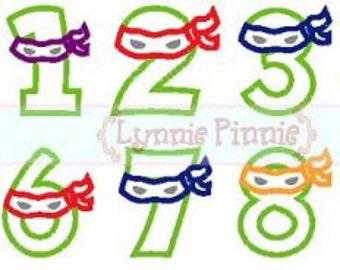 NINJA NUMBERS Applique Set 0 to 9  4x4 5x7 6x10  Machine Embroidery Design  INSTANT Download