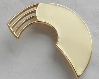 Monet Modernist Abstract Brooch Ivory / Pale Yellow Enamel and Gold Tone