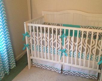 Custom Monogrammed Crib Bedding Gray and Aqua