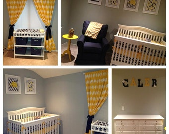 Crib Set Bedding Navy Yellow and Gray Made to Order