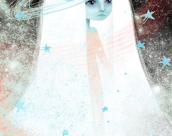 Fine Art Print - 'Space' - 11x17 or 13x19 - Space Celestial Being Princess blue girl - Large print - Stars - Pink Lavender Alien