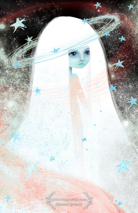 Fine Art Print - 'Space' - 8.5x11 or 8x10 - Space Celestial Being Princess blue girl - Medium to Large prints - Stars - Pink Lavender Alien