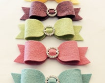 5 Large Wool Felt Bows with Rhinestone ( Easter )