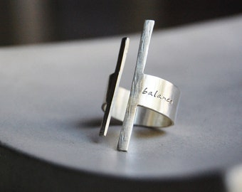 Balancing Act Ring- Modern Rough Cut Sterling Band with Custom Word