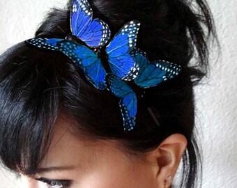 blue butterfly headband - feather butterfly headpiece - bridal headband - hair accessories for women - bohemian hair accessory - BRANDY