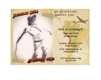 INDIANA JONES Printable Photo Birthday Invitation PDF Adventure Party