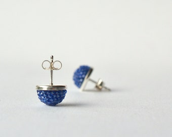post  earrings royal blue made of glass beads and sterling silver , diameter 1cm