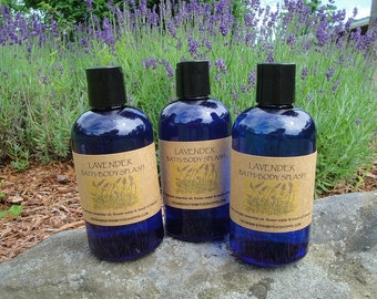 Pure Lavender Bath and Body Splash made with natural lavender blossom water and pure essential oil of lavender plus vitamin e
