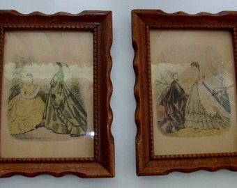 Pair of 1800s Framed Fashion Lithographs