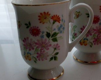 4 Pink and Yellow Spring Garden Footed Mugs by Royal Domono Collection