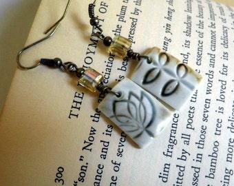 handmade Porcelain earrings, dangle, OOAK