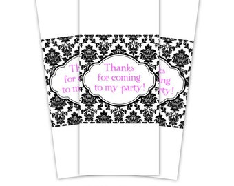 Damask Birthday Miniature Candy Wrappers - customized for you, damask mini candy bar wraps