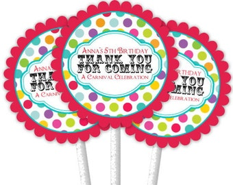 24 Carnival Cupcake Toppers, Circus Cupcake Toppers, Custom Cupcake Toppers