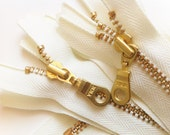 YKK Metal Teeth Zippers- Off White Ivory with Brass Teeth and Donut Pull- 5 Pcs Color 502- Available in 8,9,10,12,14,16, 18, 20 or 22 Inch