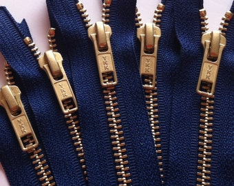 NUMBER 5s -Brass Zippers- YKK closed bottom gold metal teeth zips 5mm- (5) pieces - Navy Blue 919- Available in 7,8,12, and 20 Inches