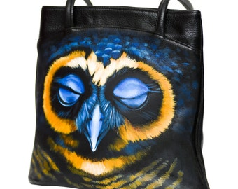 Vintage leather bag 'Midnight owl', hand-painted